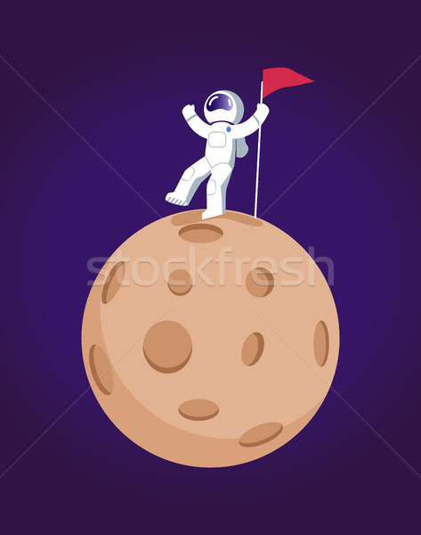 Cosmonaut and Planet Poster Vector Illustration Stock photo © robuart