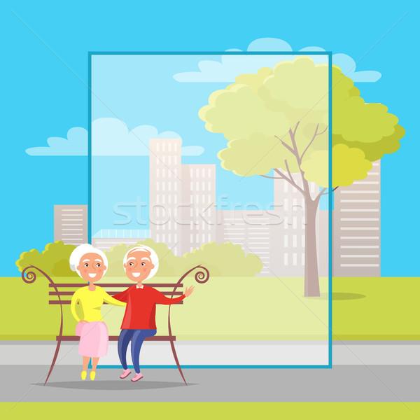 счастливым дедушка и бабушка день скамейке плакат Сток-фото © robuart