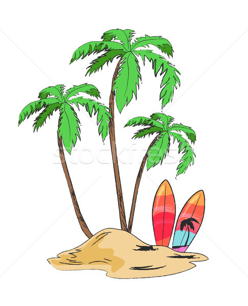 Tropical Island with Palms and Bright Surfboards Stock photo © robuart