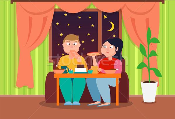 Gordura par alimentação profundo noite colorido Foto stock © robuart