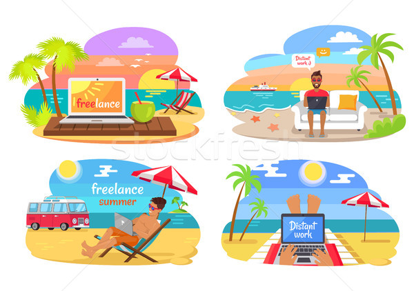 Freelance and Distant Work Vector Illustration Stock photo © robuart