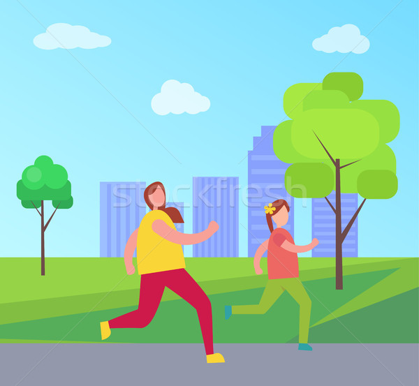 Mom and Daughter Jogging, Vector Illustration Stock photo © robuart