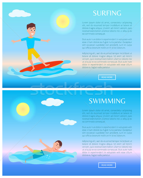 Surfing and Swimming, Water Sports Activity Cards Stock photo © robuart