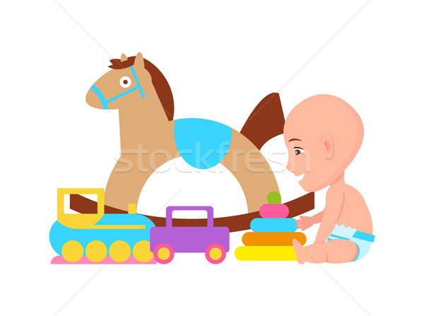 Baby and Toys Variety Poster Vector Illustration Stock photo © robuart