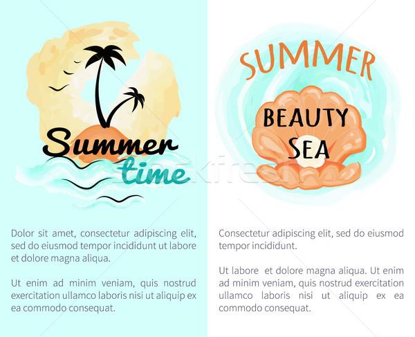 Nyár idő szépség nyitva kagyló gyöngy Stock fotó © robuart