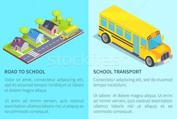 Set of Road and School Transport Posters with Text Stock photo © robuart