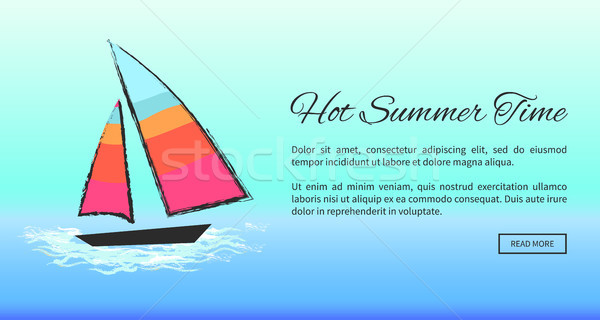 Lovely Summer Poster Depicting Boat at Sea Stock photo © robuart