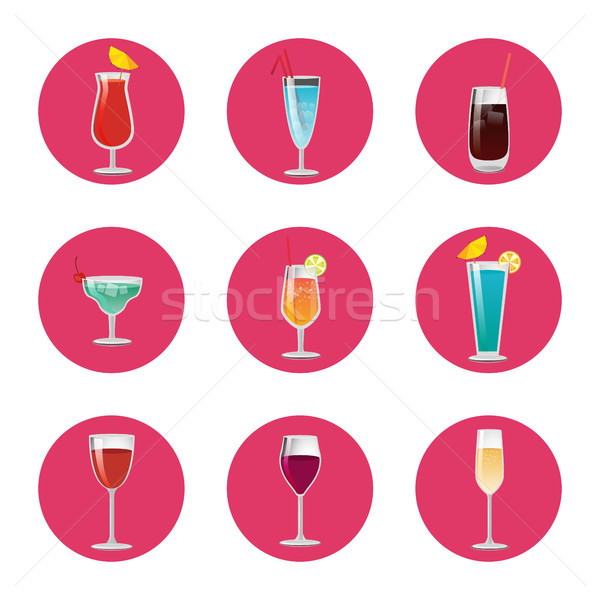 Collection of Cocktails Classical Elite Wine Drink Stock photo © robuart
