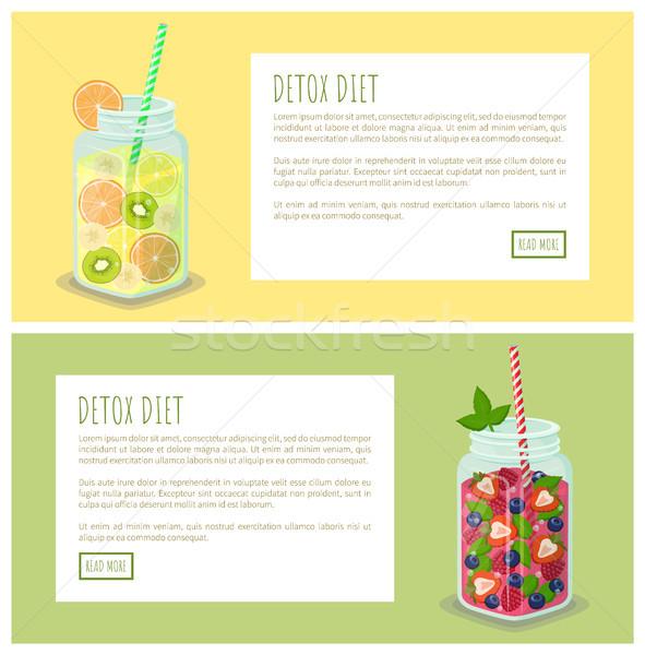 Detoxikáló diéta szett háló oldalak plakátok Stock fotó © robuart