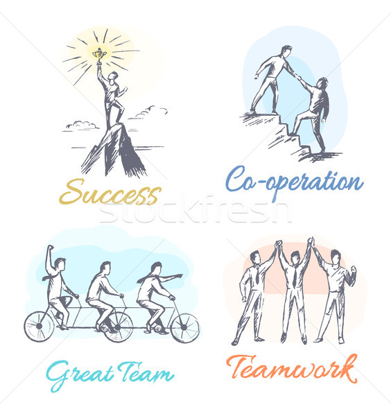 Success and Co-operation Set Vector Illustration Stock photo © robuart