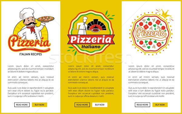 İtalyan pizzacı dikey posterler ayarlamak Stok fotoğraf © robuart