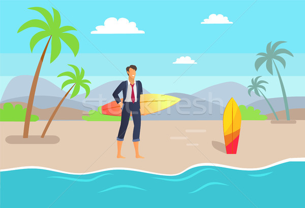 Distant Work and Seaside, Vector Illustration Stock photo © robuart