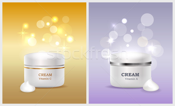 Jars of Cream with Vitamin A and C Promo Posters Stock photo © robuart