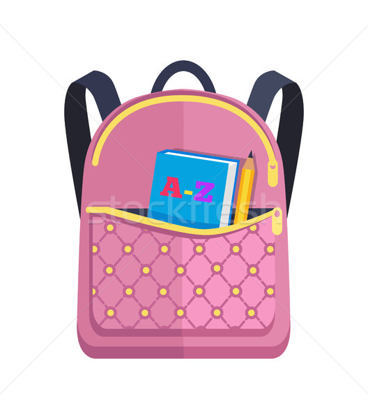 Pink Rucksack with Big Pocket with ABC Book Pencil Stock photo © robuart
