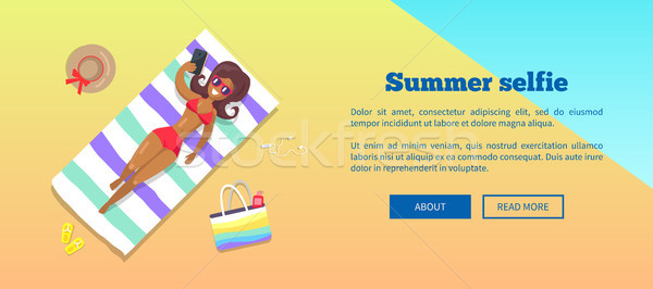 Stock photo: Summer Selfie Banner with Woman Taking Photograph