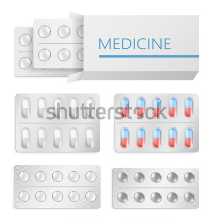 Medicine Packaging Drugs Silver Blister Painkiller Stock photo © robuart