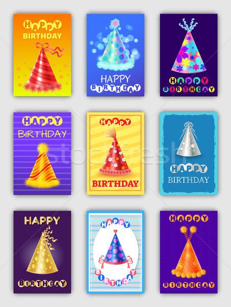 Boldog születésnapot plakátok sapkák buli ünneplés szett Stock fotó © robuart