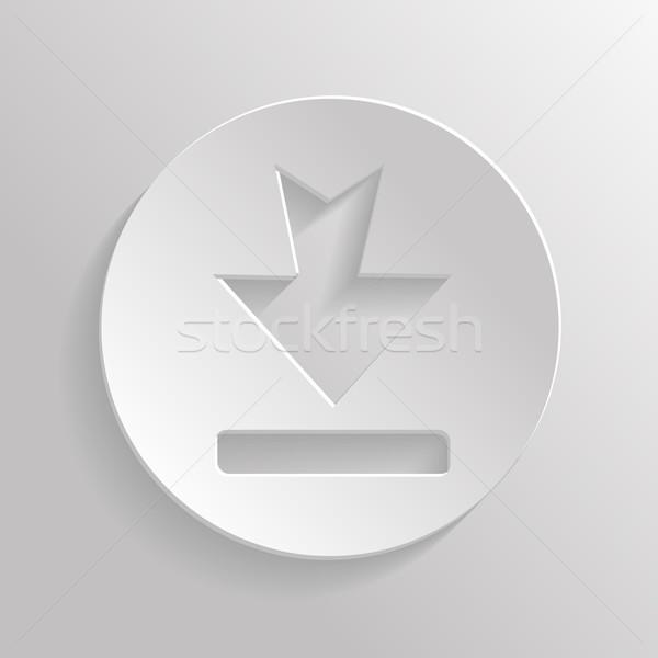 ストックフォト: アイコン · ダウンロード · アプリ · 金属 · 影 · 電話