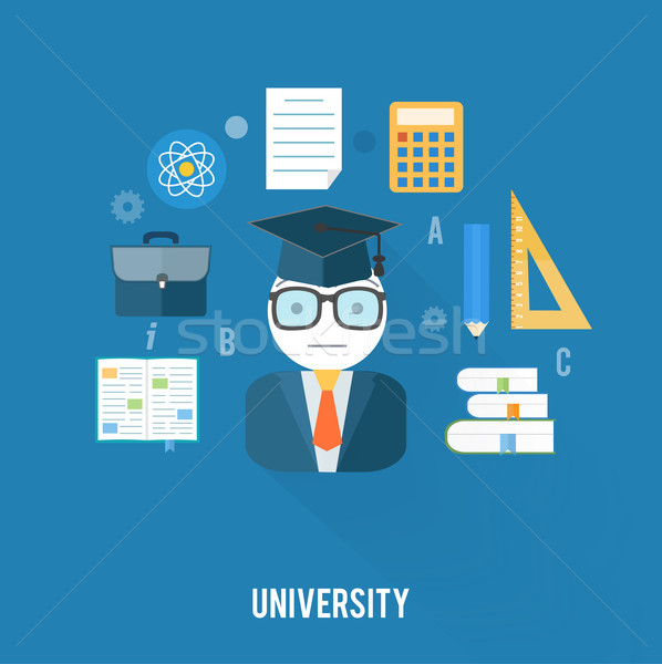 University concept with item icons Stock photo © robuart