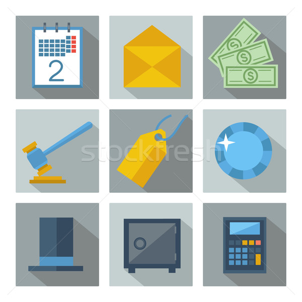 Set of 9 financial investment square icons Stock photo © robuart