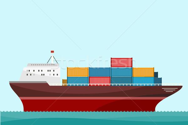 Stockfoto: Vrachtschip · scheepvaart · levering · schip · vracht · container