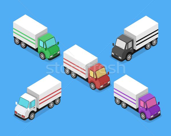 Izometrikus kisteherautó autó ikon házhozszállítás teherautó Stock fotó © robuart