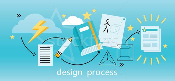 Design Process Banner Flat Concept Stock photo © robuart
