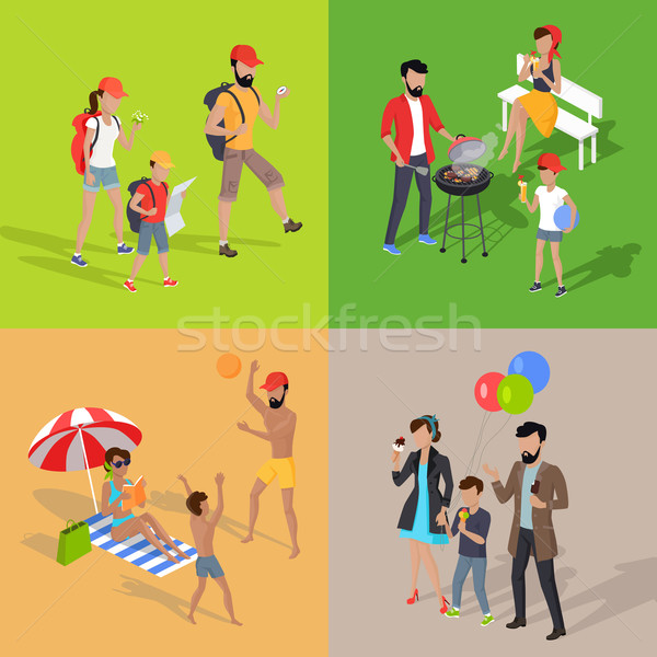 Family Holiday Barbecue Hiking and Amusement Park Stock photo © robuart