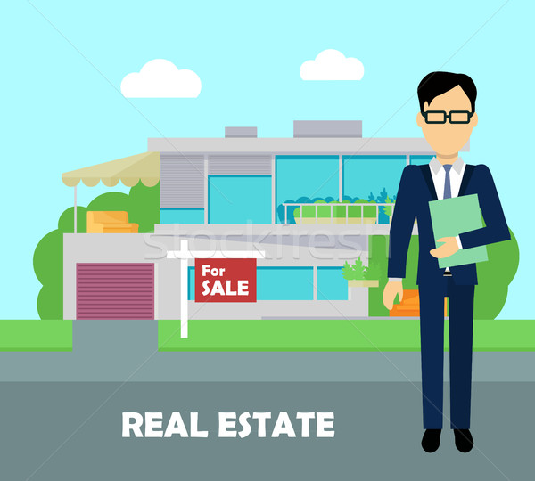 Real estate broker at work. Building for sale Stock photo © robuart