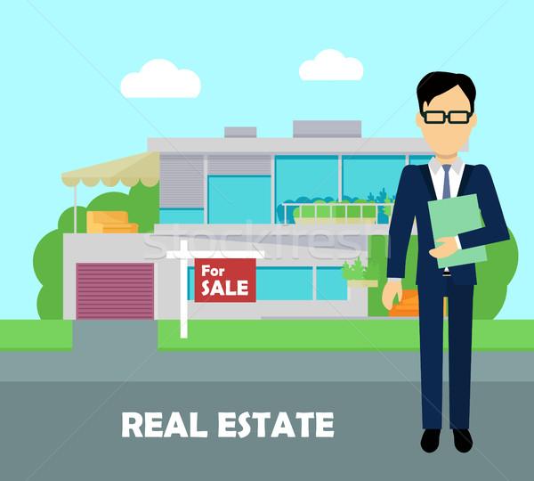 Imóveis corretor trabalhar edifício venda Foto stock © robuart