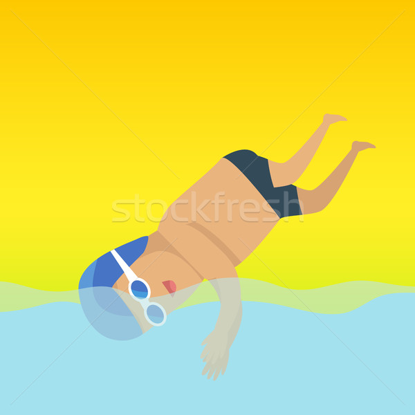 Zwemmen man sport banner zwemmer stofbril Stockfoto © robuart