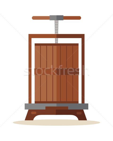 Presse raisins traditionnel bois vieux vin Photo stock © robuart