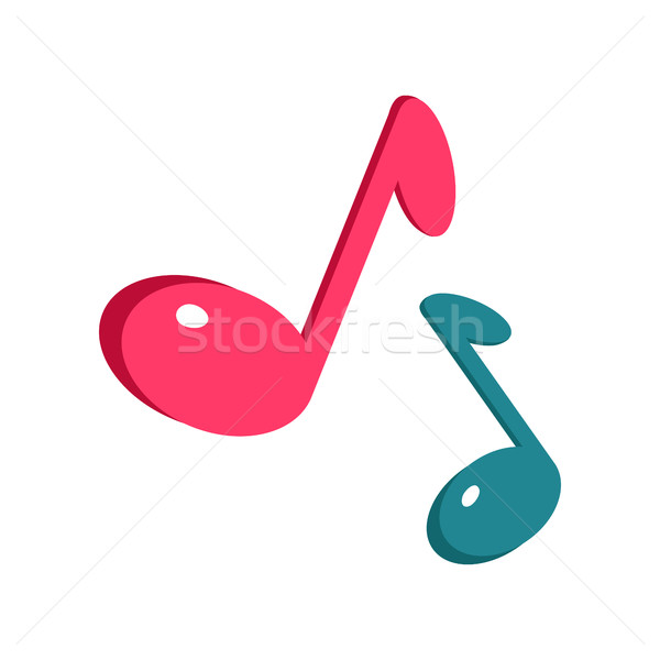Music Sign Blue and Pink Notes Isolated on White Stock photo © robuart