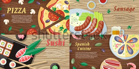 Set of National Dishes Flat Style Vector Banners Stock photo © robuart