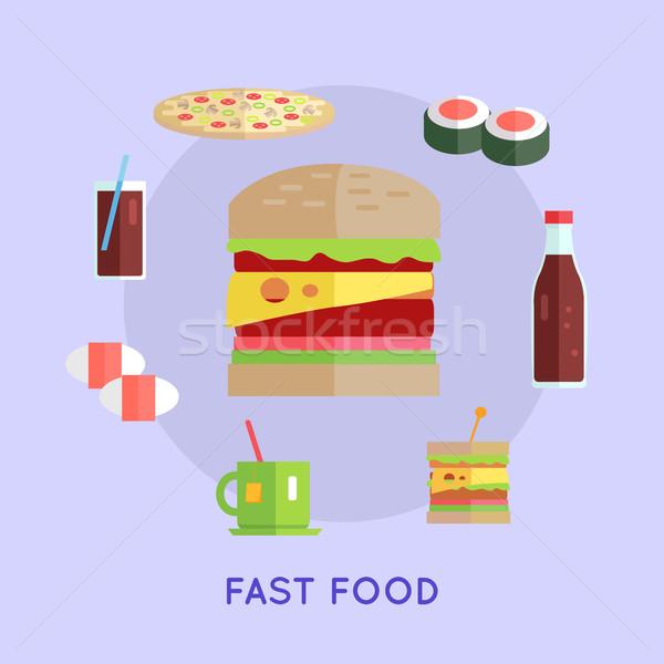 Fast food vector stijl street food hamburger pizza Stockfoto © robuart