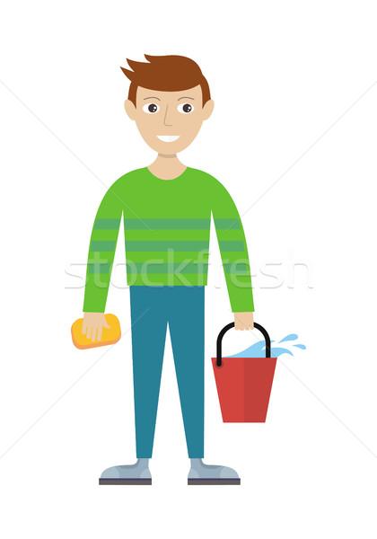 Lid schoonmaken dienst emmer spons mannelijke Stockfoto © robuart