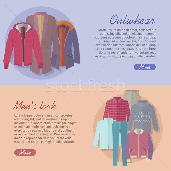 Outerwear Mens Look Web Banner. Autumn Winter Stock photo © robuart