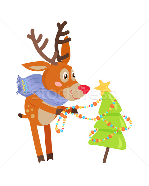Deer in Blue Scarf Decorate Xmas Tree Isolated Stock photo © robuart