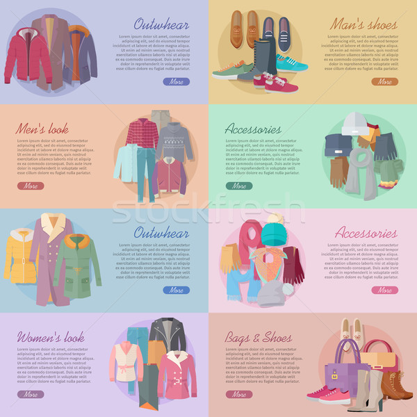 ストックフォト: セット · 服 · 靴 · 見 · バナー