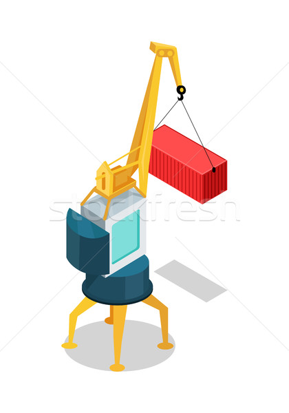 Mobile Crane with Cargo Container Isolated Vector Stock photo © robuart