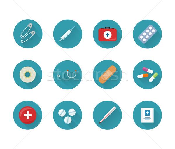 медицина коллекция веб Кнопки безопасности Сток-фото © robuart
