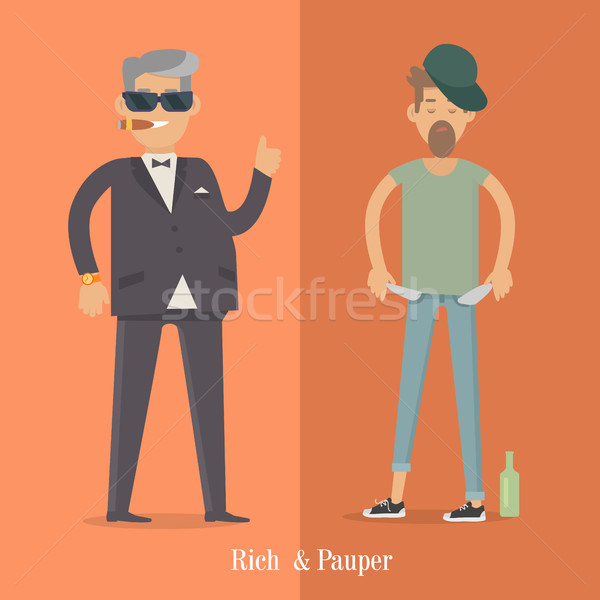 Rich and Pauper Men. Social Level. Human Poster Stock photo © robuart