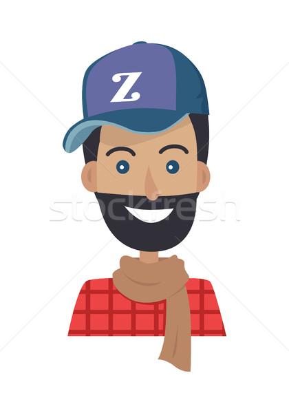 Souriant homme barbe bleu chapeau brun Photo stock © robuart