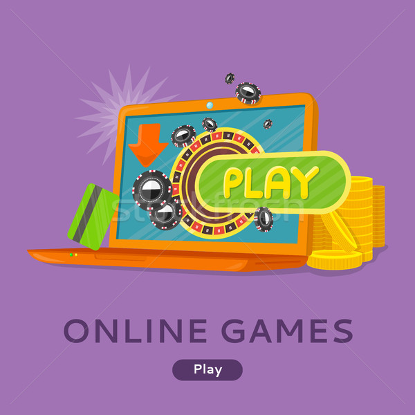 Online Games Concept Flat Style Vector Web Banner  Stock photo © robuart