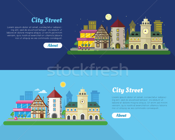 Day and Night City Street Flat Vector Banner Stock photo © robuart