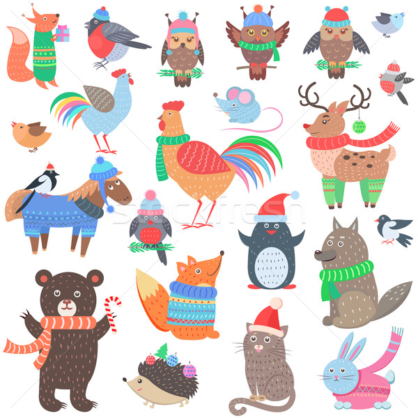 Christmas Forest Animals Set. Retro Fairy Elements Stock photo © robuart