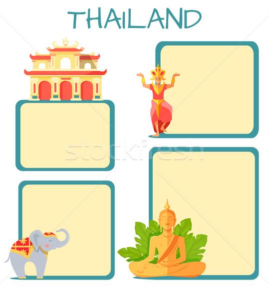 Turisztikai vektor copy space szalag szimbólumok thai Stock fotó © robuart