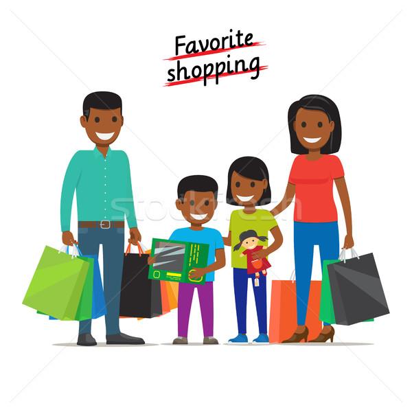 Favoriet winkelen familie mall banner afrikaanse Stockfoto © robuart