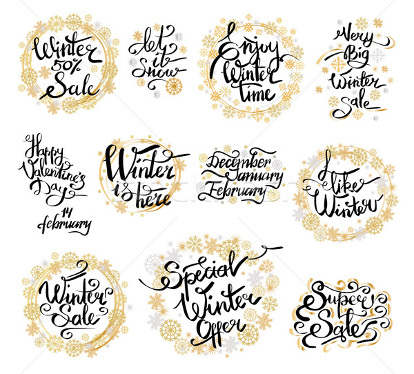 зима 50 продажи счастливым Этикетки Сток-фото © robuart