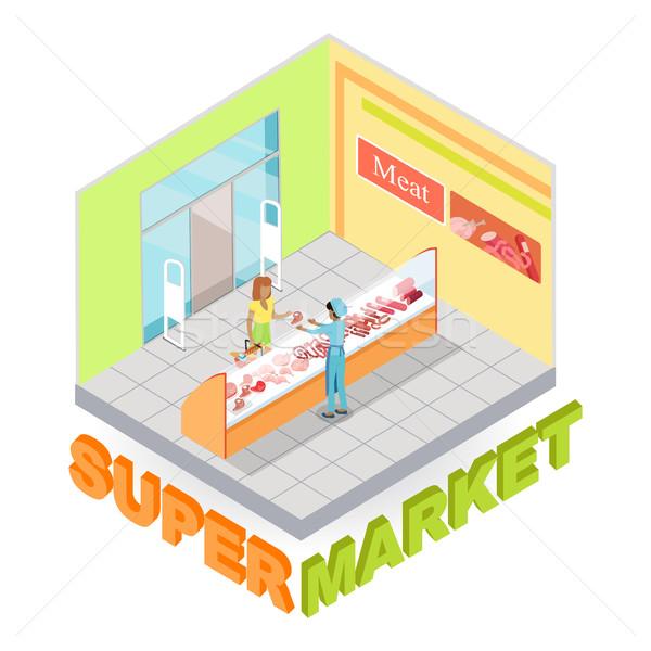 Supermercado carne departamento vector interior Foto stock © robuart